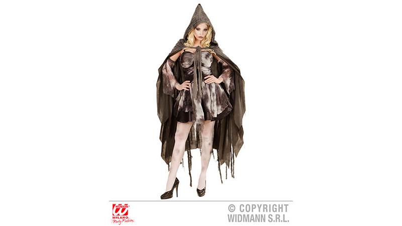 Grauer zerissener Umhang mit Kapuze 165 cm Grusel Halloween Kostüm Party neu