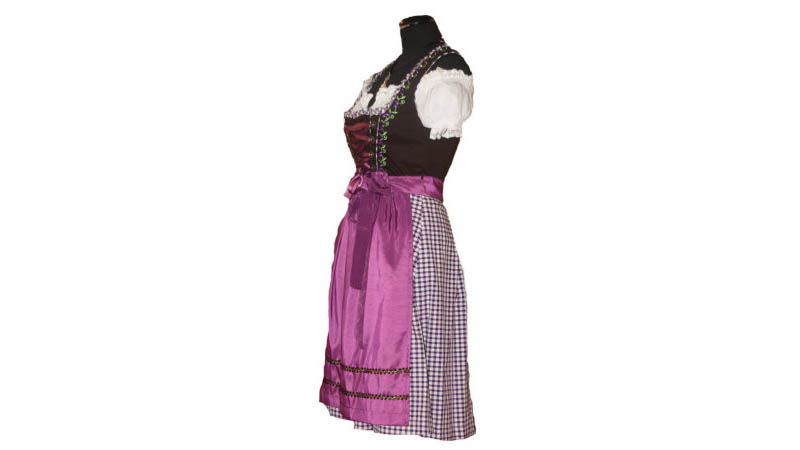 e3bdd5148808d4 Süßes Midi Dirndl lila braun 60er Länge Trachtenkleid Kleid Tracht ...