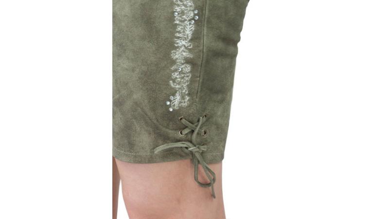 ee3153a815967 Details zu Krüger Damen Lederhose grau strass edel schick Trachtenhose  Trachten Leder NEU